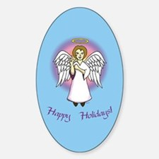 Holiday Angel Blue Oval Decal