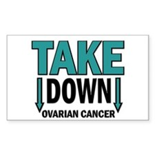 Take Down Ovarian Cancer 1 Rectangle Decal