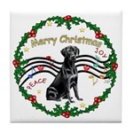 XmasMusic2/Lab (black) Tile Coaster
