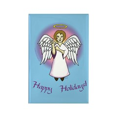 Holiday Angel Blue Rectangle Magnet (100 pack)