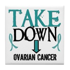 Take Down Ovarian Cancer 2 Tile Coaster