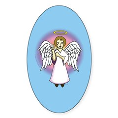I-Love-You Angel Blue Oval Sticker (50 pk)