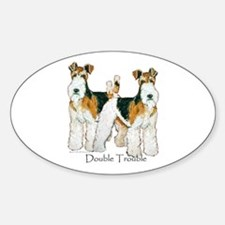 Fox Terrier Trouble! Oval Decal