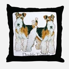Fox Terrier Trouble! Throw Pillow