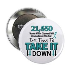 "Take Down Ovarian Cancer 4 2.25"" Button (10 pack)"
