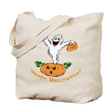 Happy Halloween Pumpkin Ghost Tote Bag