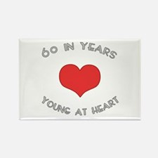 60 Young At Heart Birthday Rectangle Magnet (10 pa