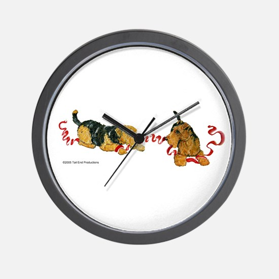 Welsh Terriers play to Win! Wall Clock