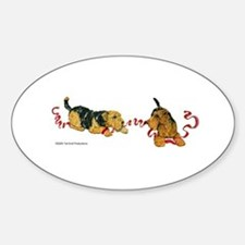 Welsh Terriers play to Win! Oval Decal