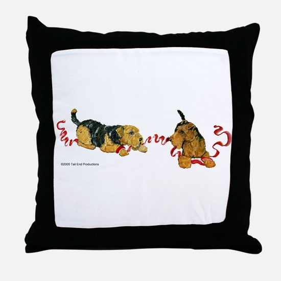 Welsh Terriers play to Win! Throw Pillow