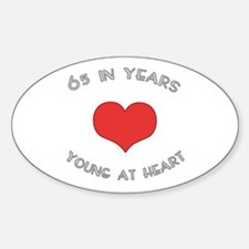 65 Young At Heart Birthday Oval Decal