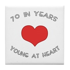 70 Young At Heart Birthday Tile Coaster