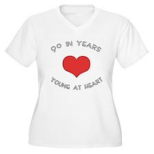 90 Young At Heart Birthday T-Shirt