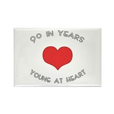 90 Young At Heart Birthday Rectangle Magnet