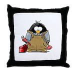 Plumber Penguin Throw Pillow