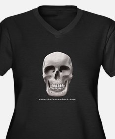 Pale Skull Women's Plus Size V-Neck Dark T-Shirt