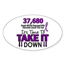 Take Down Pancreatic Cancer 4 Oval Decal