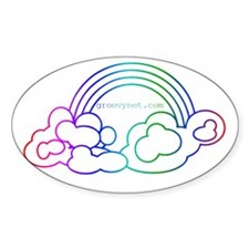 Rainbow with Clouds Oval Decal