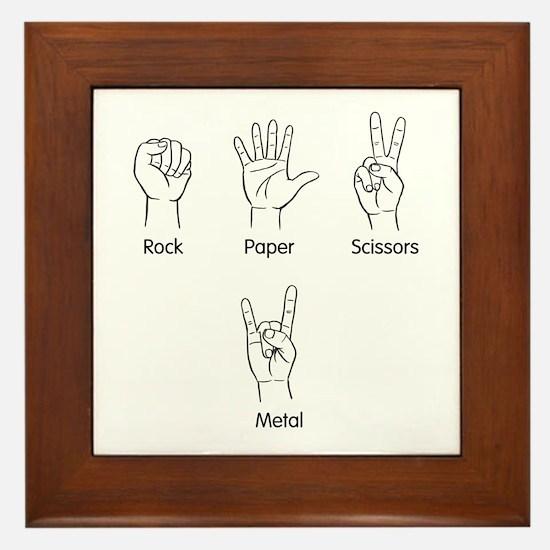 Rock, Paper, Scissors, METAL! Framed Tile