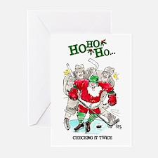 Santa Hockey #1011 Greeting Cards (Pk of 10)