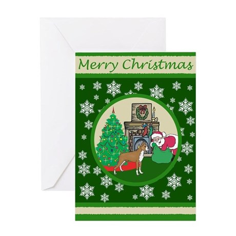 Santa & A Boxer Greeting Card