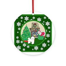 Santa & A Bichon Frise Ornament (Round)