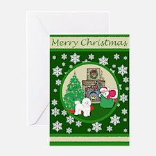 Santa & A Bichon Frise Greeting Card