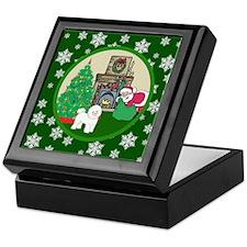 Santa & A Bichon Frise Keepsake Box