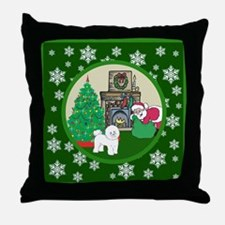 Santa & A Bichon Frise Throw Pillow