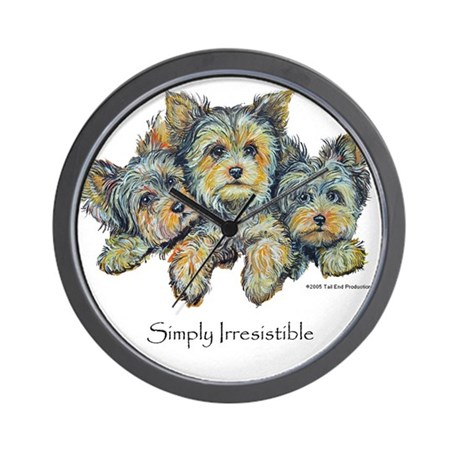 Yorkshire Terrier Puppies Wall Clock