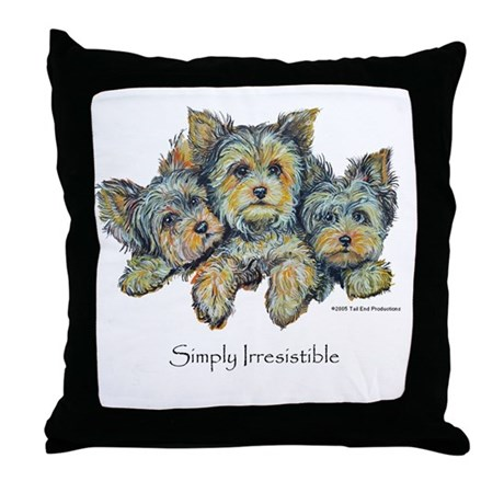 Yorkshire Terrier Puppies Throw Pillow