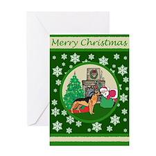 Santa & A German Shepard Greeting Card
