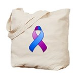 Blue and Purple Awareness Ribbon Tote Bag
