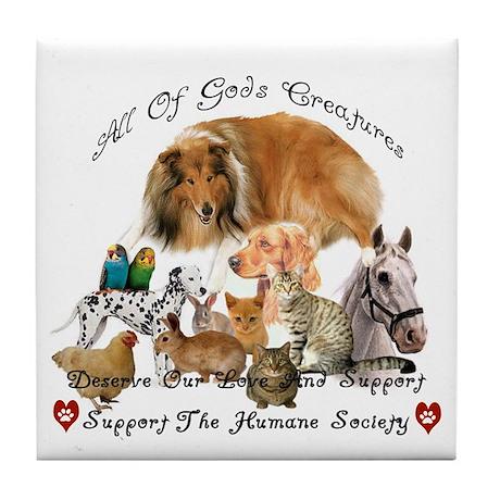 Humane Society Animal Support Tile Coaster