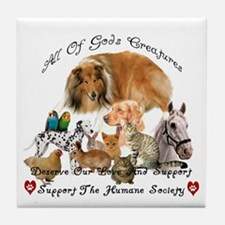 Humane Society Animal Support Tile Coaster