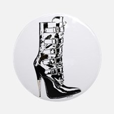 Leather Stilletto Boot Ornament (Round)