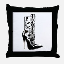 Leather Stilletto Boot Throw Pillow
