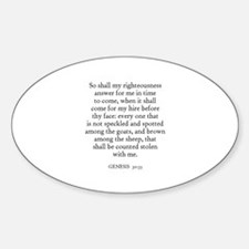 GENESIS 30:33 Oval Decal