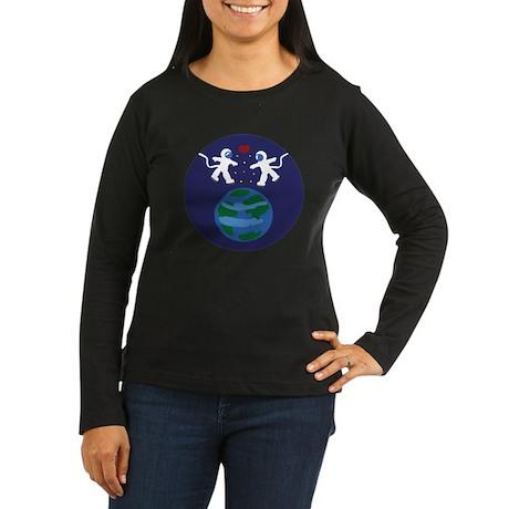 Astronaut Love Women's Long Sleeve Dark T-Shirt