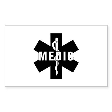 Medic EMS Star Of Life Sticker (Rectangle)