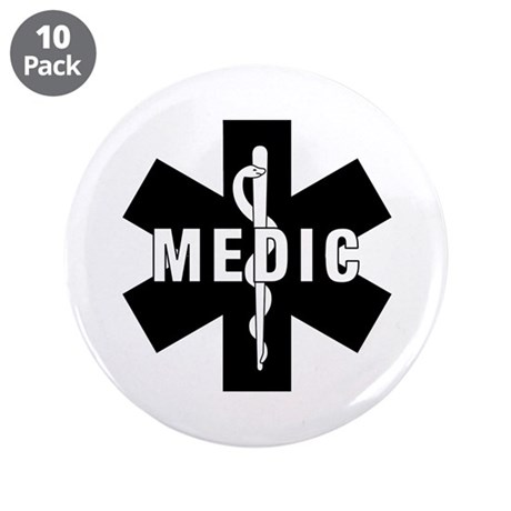 "Medic EMS Star Of Life 3.5"" Button (10 pack)"