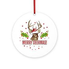 Merry Deermas Ornament (Round)