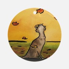 Falling Leaf Cat Ornament (Round)