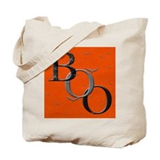 """Boo"" Tote Bag (white/orange)"