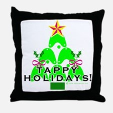 Tappy Holidays Christmas Tree Throw Pillow