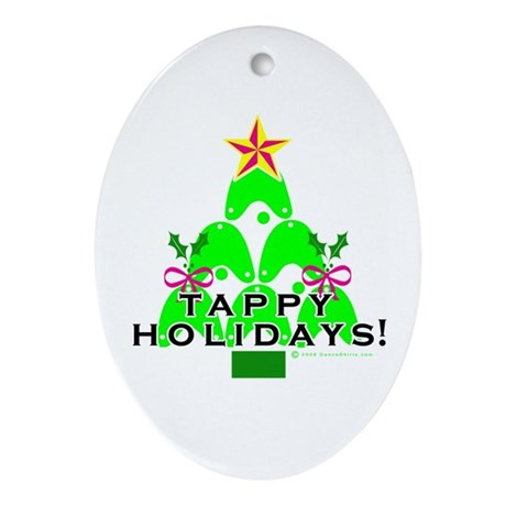 Tappy Holidays Christmas Tree Oval Ornament
