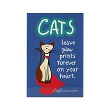 Cats Leave Paw Prints Rectangle Magnet