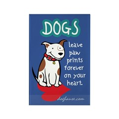 Dogs Leave Paw Prints Rectangle Magnet