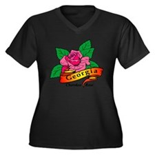 Georgia Pride! Women's Plus Size V-Neck Dark T-Shi