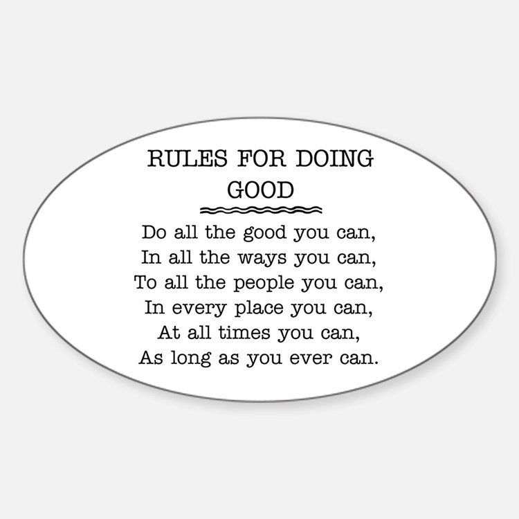 RULES FOR DOING GOOD Decal